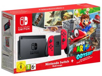 Игровая консоль Nintendo Switch Red Super Mario Odyssey Bundle