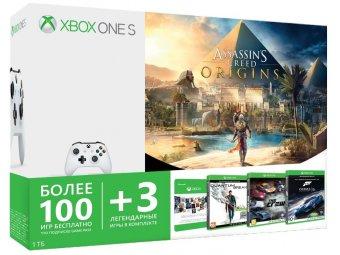 Игровая консоль Microsoft Xbox One S 1 ТБ + Assassin's Creed + Forza Motorsport 6 + Quantum Break + The Crew + Xbox Game Pass