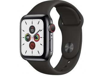 Смарт часы Apple Watch Series 5 GPS + Cellular 44mm Stainless Steel Case with Sport Band Space Grey (MWW72, MWWK2)
