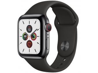 Смарт часы Apple Watch Series 5 GPS + Cellular 40mm Stainless Steel Case with Sport Band Space Grey (MWWW2, MWX82)