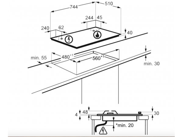 Газовая варочная панель Electrolux GPE373MX